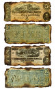 Old, Burned Confederate Five and Ten Dollar Bills Royalty Free Stock Photo