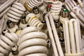 Old burnt fluorescent energy saving lamps. Royalty Free Stock Photo