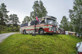 Old bus with american flag the is parked at fredriksten fortress campsite during the annual amcar meeting in halden norway the Stock Photography