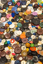 The old buttons. Buttons in an old metal box. Royalty Free Stock Photo