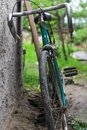 Old bycicle leaning on a wall Royalty Free Stock Photo