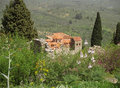 Old Byzantine Stone Church on the Hill, Archaeological Site of Mystras in Greece Royalty Free Stock Photo