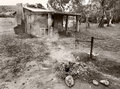 Old cabin black and white australia little cottage in with fireplace Stock Photo