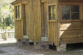 Old cabin with cypress siding on Shingle Creek, Florida. Royalty Free Stock Photo