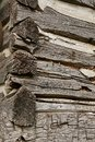 Notched corners of a log cabin Royalty Free Stock Photo