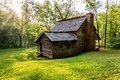 Old cabin in the great smokey mountains national park cades cove mountians at senic lope Stock Image