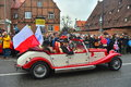 Old cabrio car on a parade ancient automobile polands independence day november th in the city of gdansk northern poland Royalty Free Stock Image