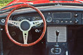 Old cabrio car steering wheel vintage beautifully restored interior of an ancient sports on a show in gdansk oliwa poland logo Stock Photos