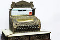 Old calculator antique cash register with a card sale Royalty Free Stock Images
