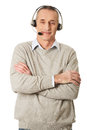 Old call center man wearing headset Royalty Free Stock Photo
