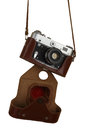Old camera with a brown leather cover isolated on white background Stock Photos