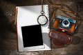 Old Camera - Instant Photo Frame and Notebook Royalty Free Stock Photo
