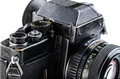 Old camera reflex on a white background Royalty Free Stock Images