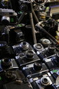 Old cameras on film - photography antique bazar Royalty Free Stock Photo