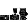 Old cameras layered vector illustration of collected Royalty Free Stock Images