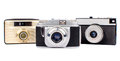 Old cameras russian mm film isolated on white background Royalty Free Stock Photography