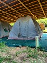 Old camping tent under roof shot sodwana bay campsite kwazulu natal province southern mozambique area south africa Royalty Free Stock Images