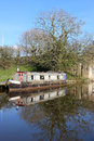 Old canal narrow boat on lancaster canal garstang moored at the side of the the outskirts of in lancashire Stock Photos