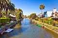 Old canals of venice in california beautiful living area build by abbot kinney Royalty Free Stock Images