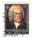 Old canceled german stamp with iohann sebastian Royalty Free Stock Image