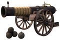 Old cannon and bombs Royalty Free Stock Photo