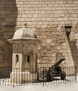 Old cannon by cathedral la seu in palma de mallorca Royalty Free Stock Photography