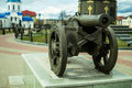 An old cannon near the memorial in honor of the victory in the war of 1812 in the town of Maloyaroslavets in Russia. Royalty Free Stock Photo