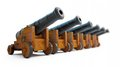 Old cannons row on a white background Royalty Free Stock Images