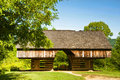 Old Cantilever barn in Cades Cove. Stock Photo