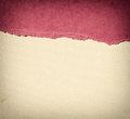 Old canvas texture background with delicate stripes pattern and pink vintage torn paper Royalty Free Stock Image