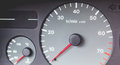 Old car dashboard of the 90`s with speedometer, tachometer... Royalty Free Stock Photo