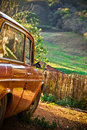 Old car at the farm Royalty Free Stock Photo
