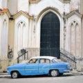 Old car in havana building facade Royalty Free Stock Photo