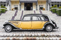 Old car side view beautiful yellow black Royalty Free Stock Images