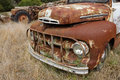 Old car wide angle shot of rustic truck Royalty Free Stock Photos