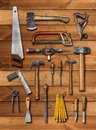 Old carpenter hand tools on wood Royalty Free Stock Photo