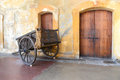 Old cart in san juan puerto rico wooden castillo cristobal Stock Images