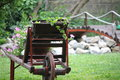 Old carts and flowers decorated with Royalty Free Stock Image