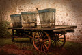 Old carts wall antique vehicle Stock Images