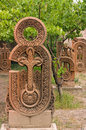 An old carved cross in tufa armenia Stock Photos