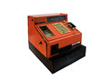 Old cash register orange from the seventies Royalty Free Stock Image