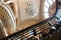 Title: Old Casino interior stairs and chandelier