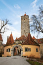 Old castle gate famous medieval town rothenburg ob der tauber germany Royalty Free Stock Photo