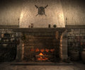 Old castle kitchen Royalty Free Stock Image
