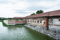 Old castle with moat in Holic, Slovakia, cultural heritage