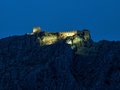 Old castle at the night view blue hour ruins of a fort fortica stari grad above omis town fortress was observation post Stock Image