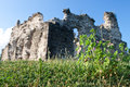 Old castle ruins in transcarpathian ukraine village seredne Stock Photography