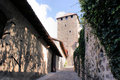 A old castle in south tyrol on the way to courtyard italy walls light and shadow and cloudless sky Stock Photography