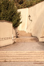 Old Castle Stairs on Prague Castle. Medieval stairway with vintage lamps, Prague, Czech Republic Royalty Free Stock Photo