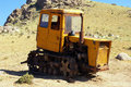 Old caterpillars machine with for earth movings in uzbek mountain Stock Images